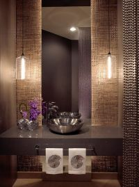 Contemporary powder room decorating ideas beaded curtains ...