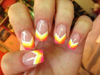 Neon rainbow painted nail tips. Acrylic nail design art ...