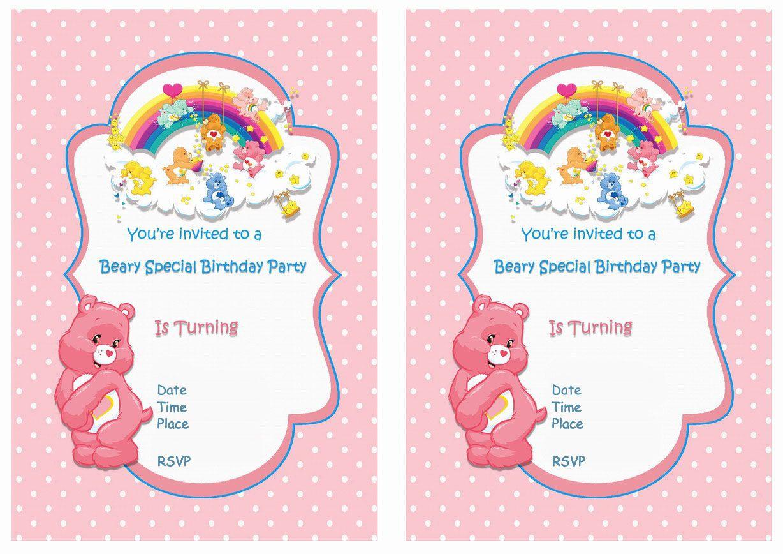 Care Bears Free Printable Birthday Party Invitations Birthday Party Invitations