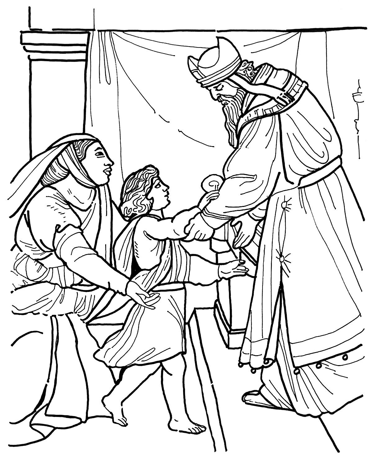 Hannah dedicates Samuel to the temple Bible coloring page
