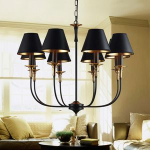8 Light Countryside Chandeliers For Living Room Black Shade