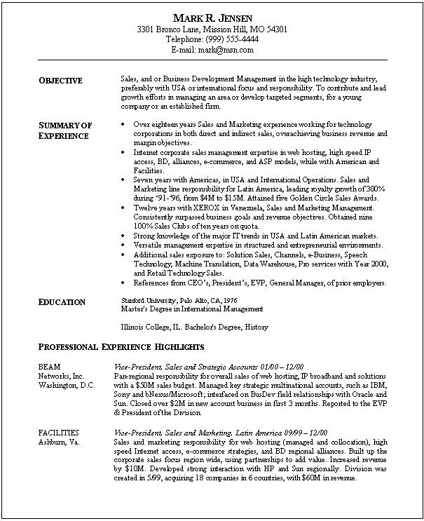 Sales Marketing Resume Sample Jobresumesample Com 447