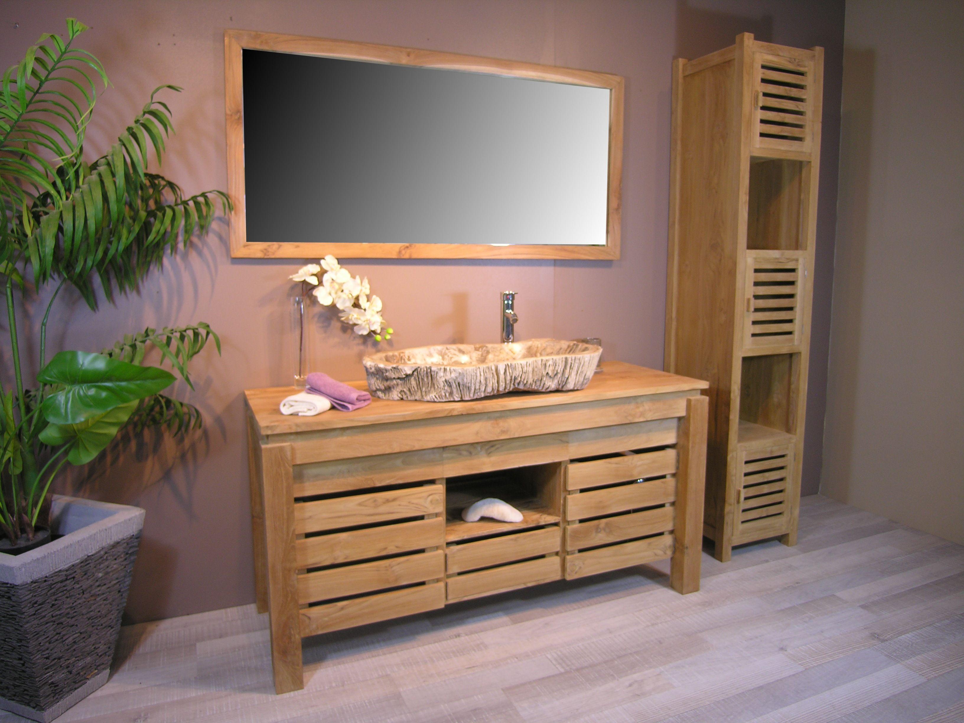 Meuble de salle de bain en teck ZEN double vasque 145cm  Salle de bain en teck Double vasque