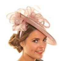 Wedding Fascinator Hat - Light Pink Tilted Disc Sinamay ...