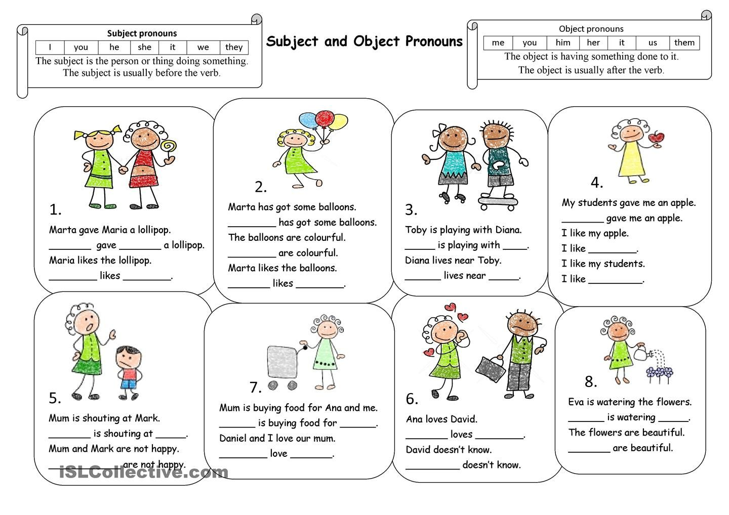 Subject Object Pronoun Activities