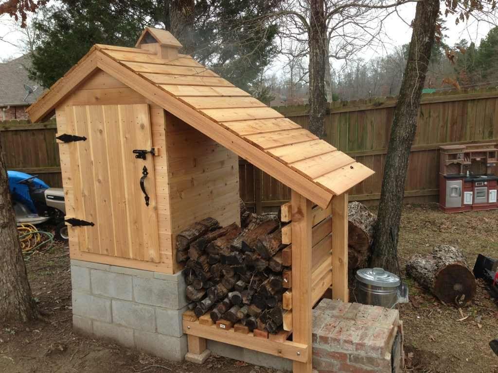 Smokehouse Cedar Smokehouse On Cinder Block With Wood Storage