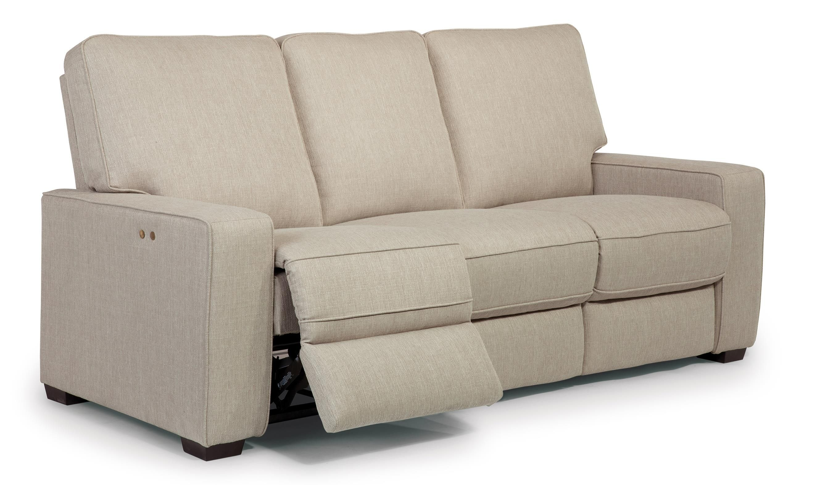 modern power reclining sofa crushed velvet cover contemporary with exposed wood legs