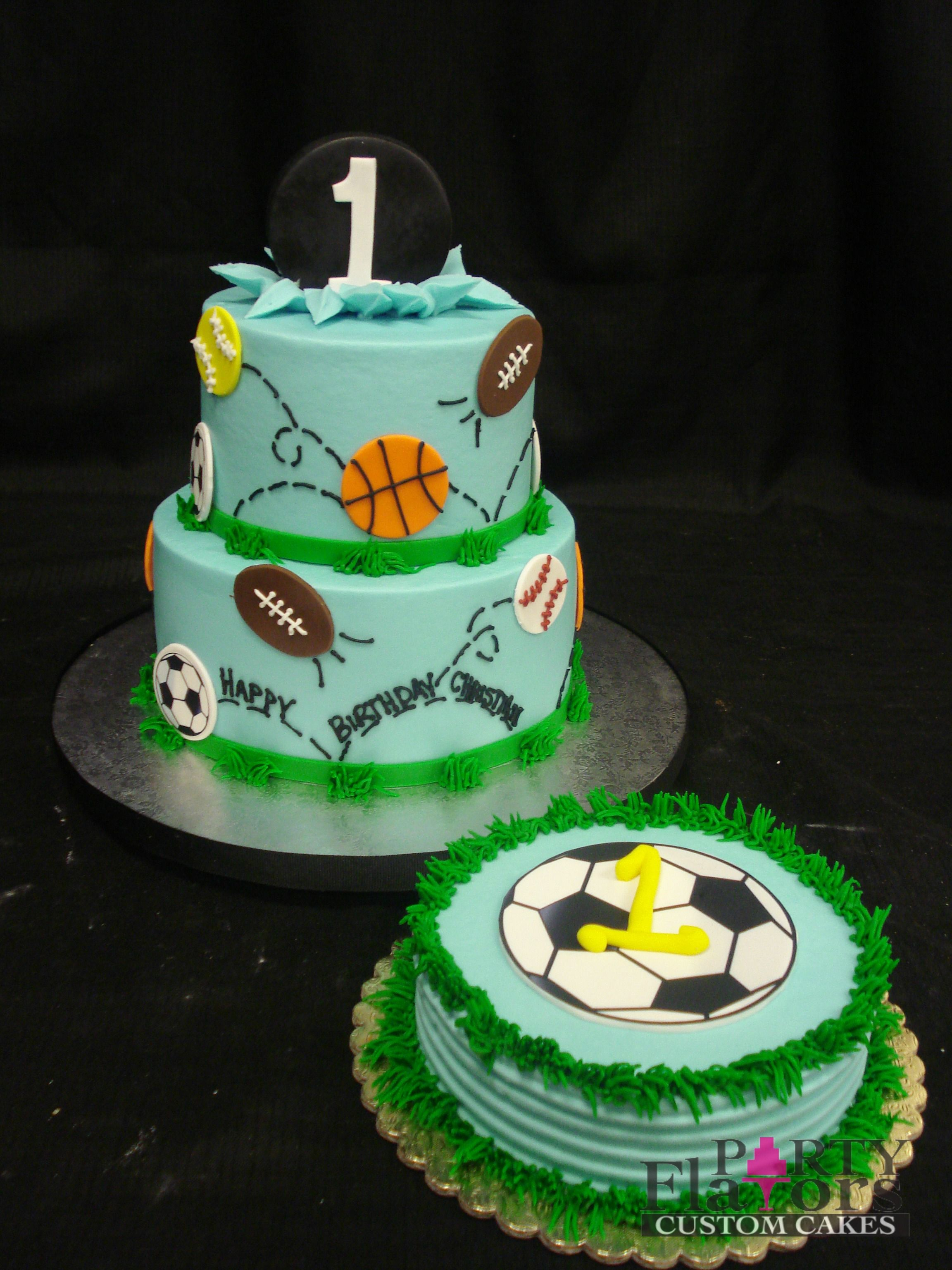 Sports Themed Birthday Cake Blue Buttercream Base