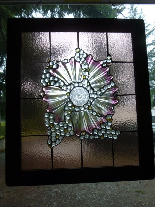 Large Unique Stained Glass Window Panel Vintage