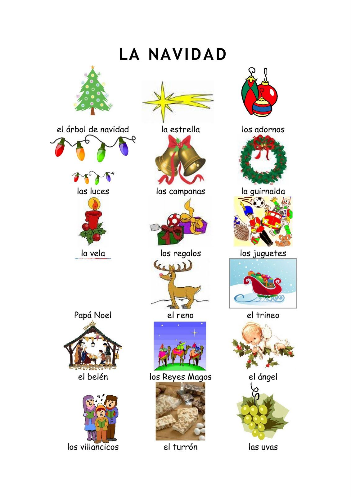 Christmas Spanish Vocabulary Vocabulario De La Navidad Spanish Christmas Vocabulary