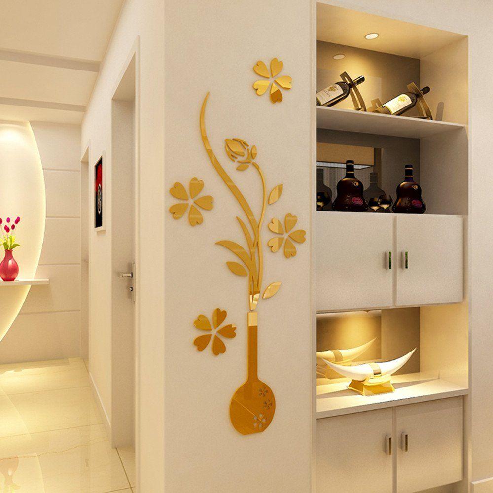 Heying mirror flower vase  crystal acrylic diy wall stickersand murals for entranceway living bedroom also rh pinterest