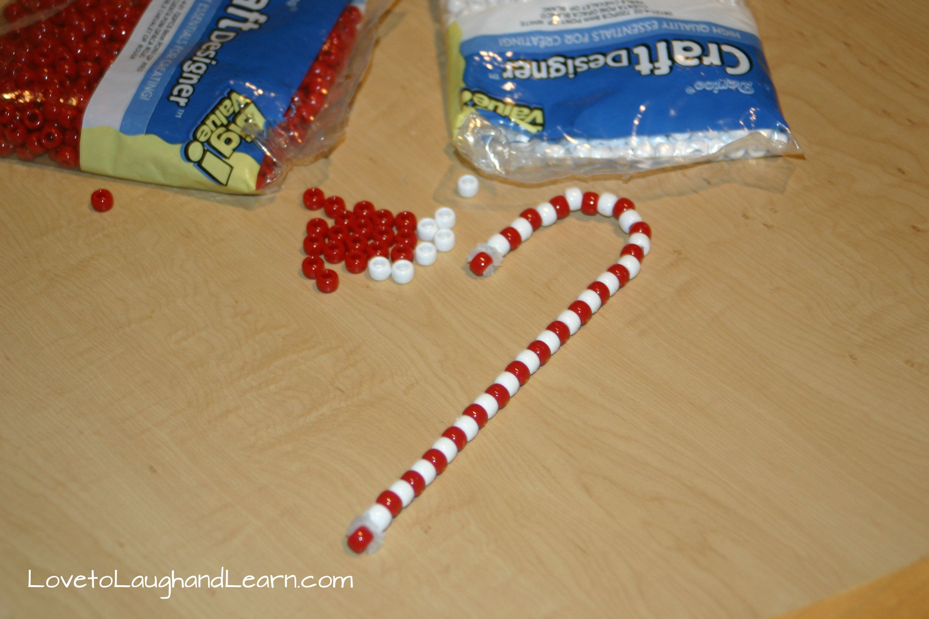 Simple Candy Cane Craft With Pipe Cleaners And Pony Beads