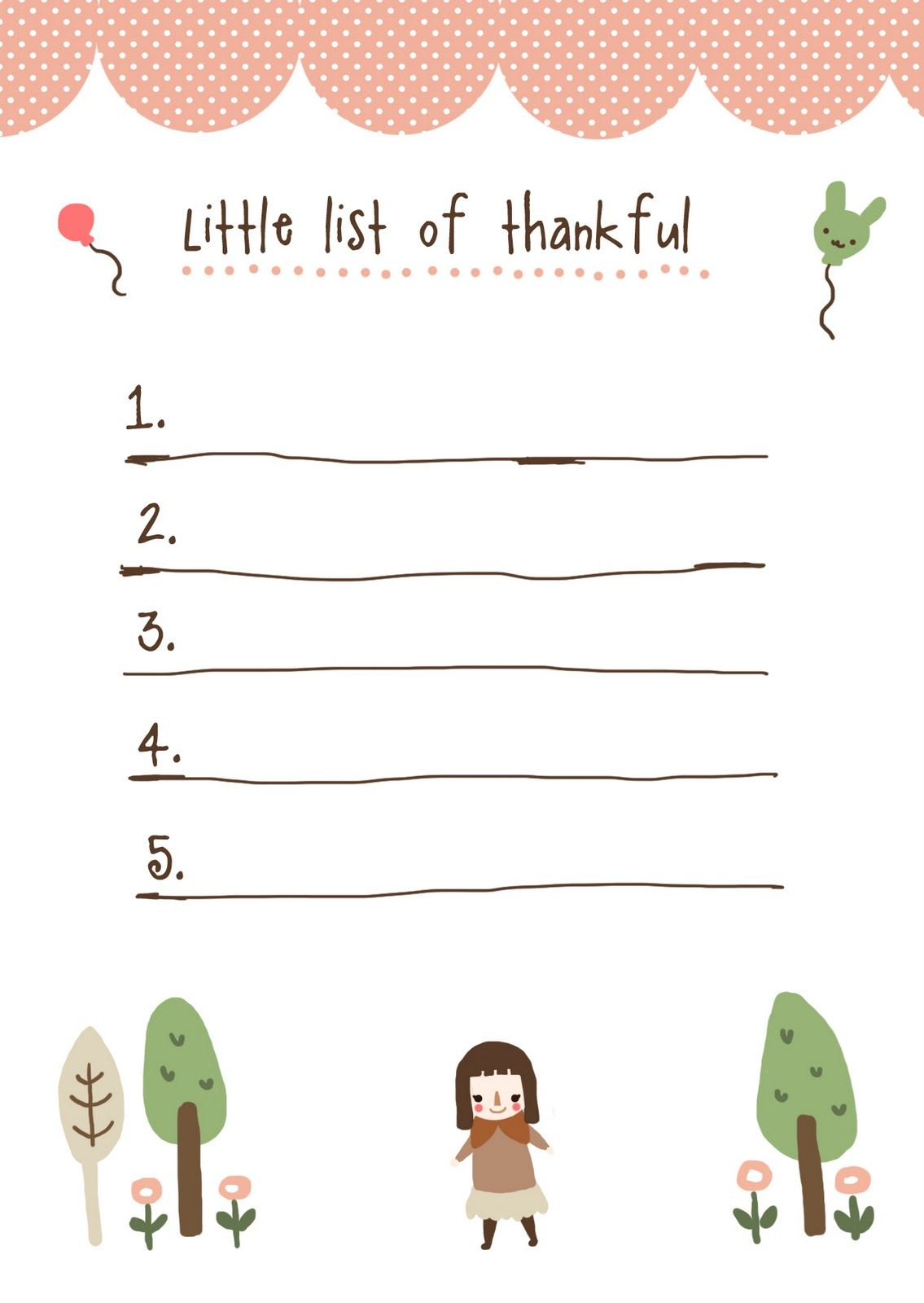 Printable List For Gratitudes Would Have Gone Perfect In