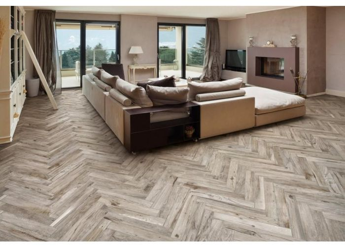 Gunnison gray wood plank porcelain tile also