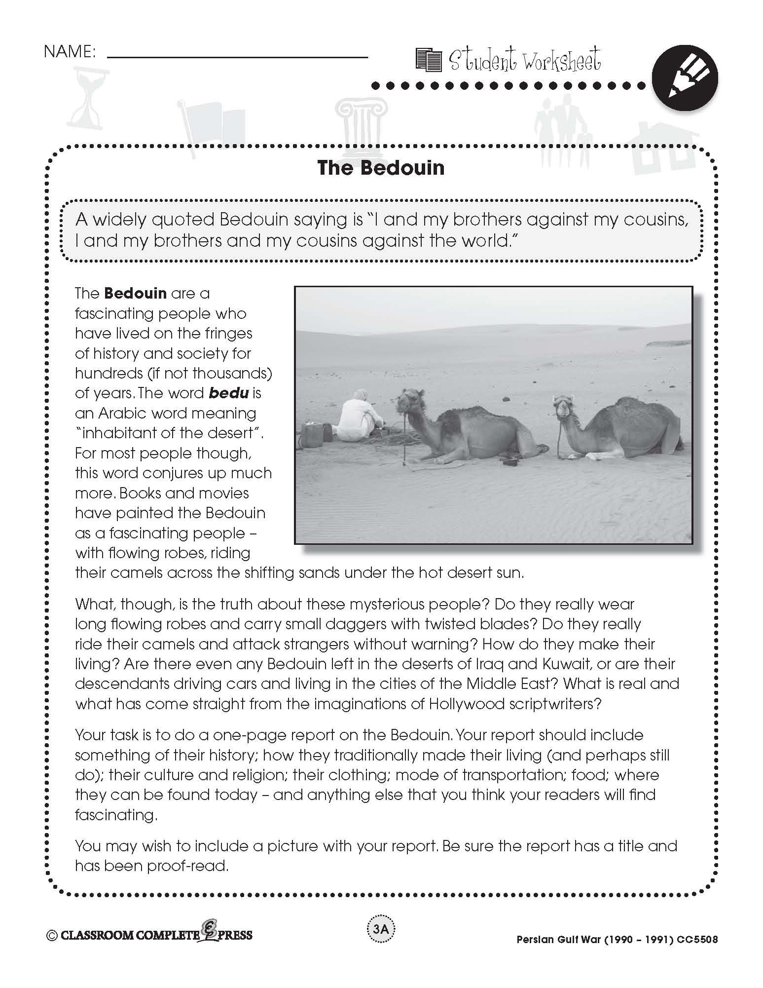 Write A Report On The Bedouin People From The Persian Gulf