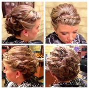 wedding updo with headband-style