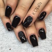 solid black coffin nails matte