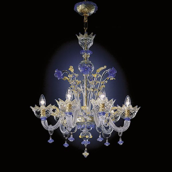 Six Light Hand N Murano Glass Chandelier With Crystal Color And Blue Gold Decorations