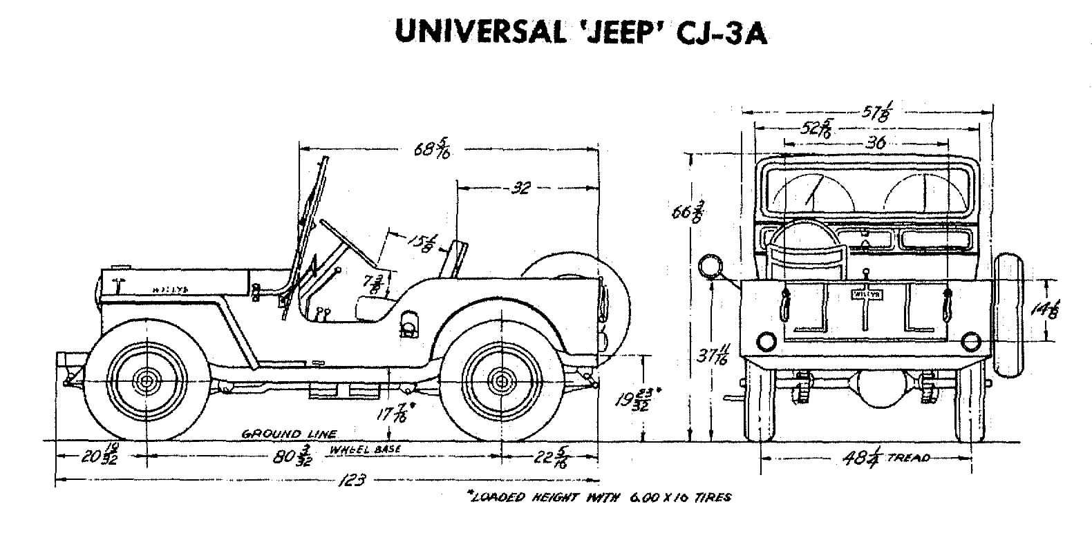 Jeep Cj 3a Size Specs