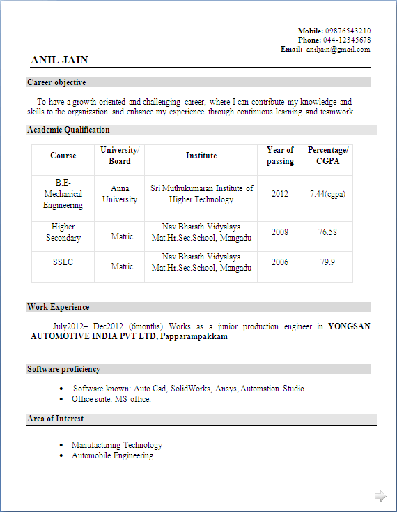 Objective In Resume For Mechanical Engineer
