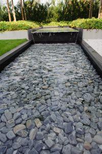 moderne tuin, strakke tuin, strakke vijver, waterpartij ...