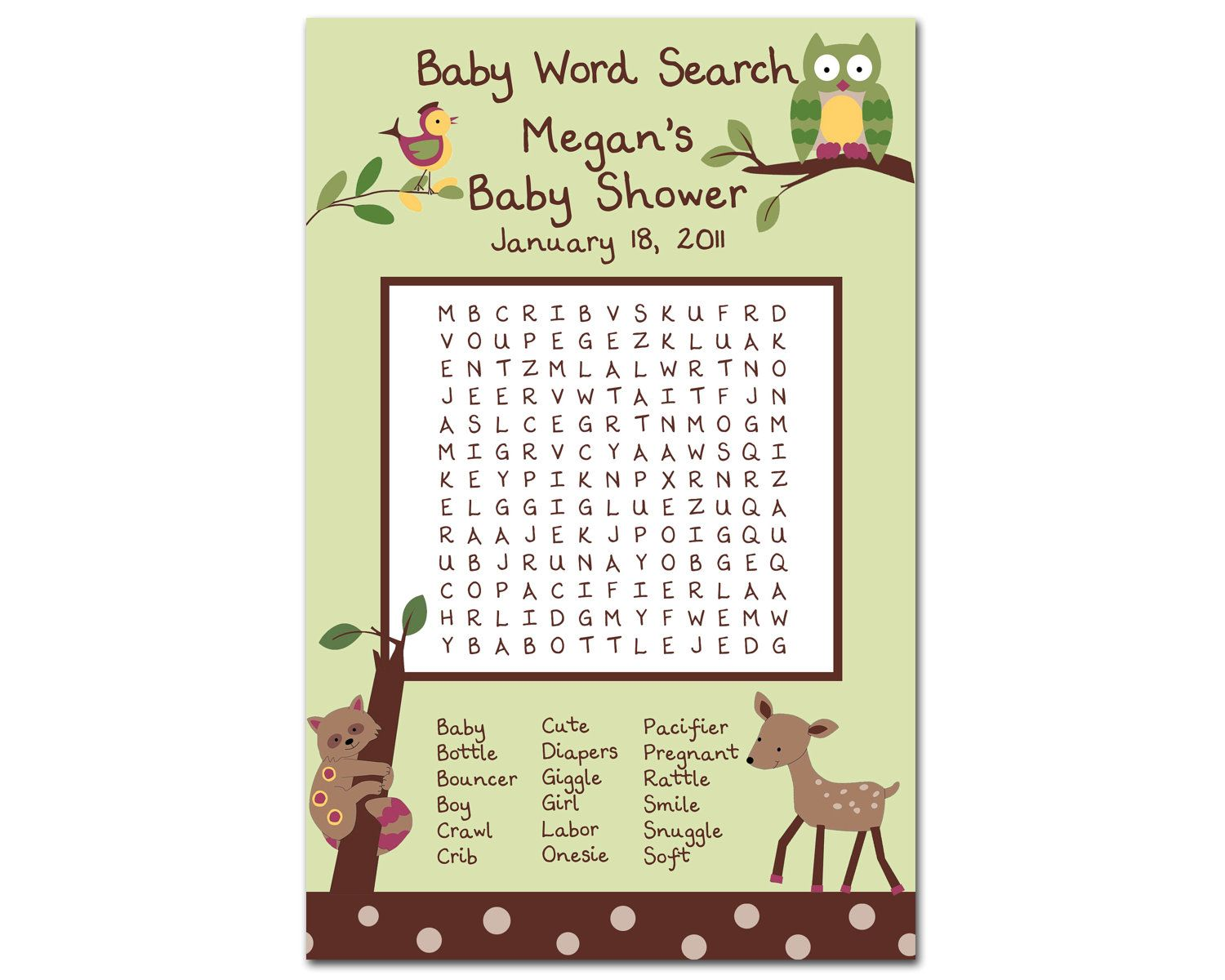 Baby Shower Word Search Printable Baby Shower Word
