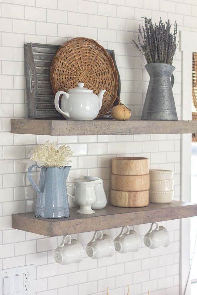 Spring Home Tour  a Giveaway  Kitchen shelves Modern