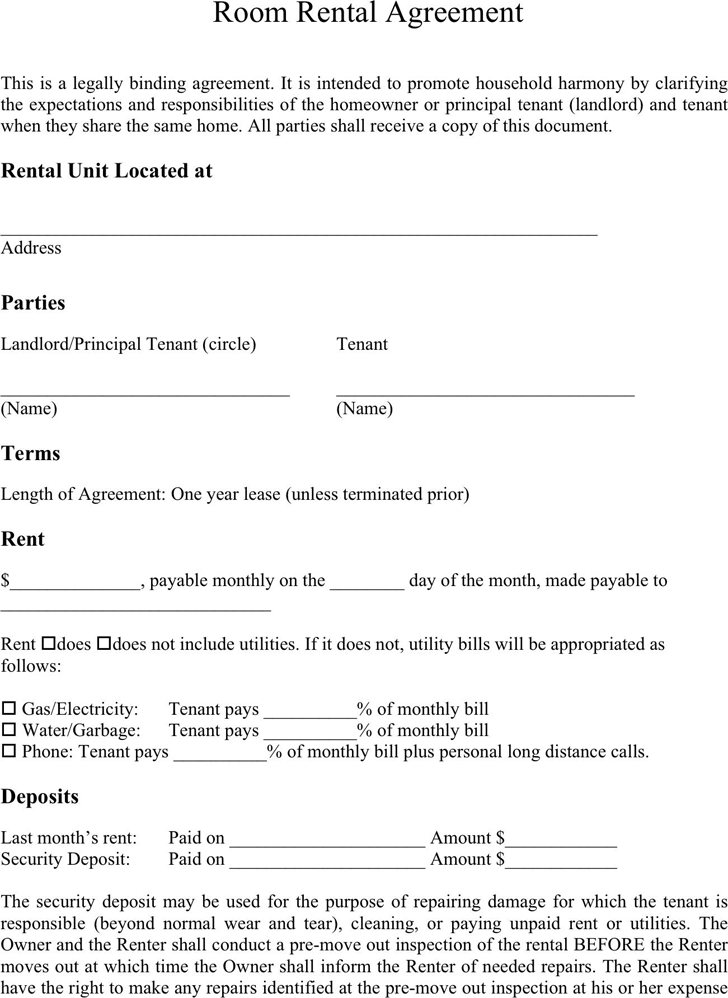 Room Rental Agreement 1  products  Pinterest  Room