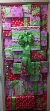 lets wrap our door for Christmas..one solid wrap though ...