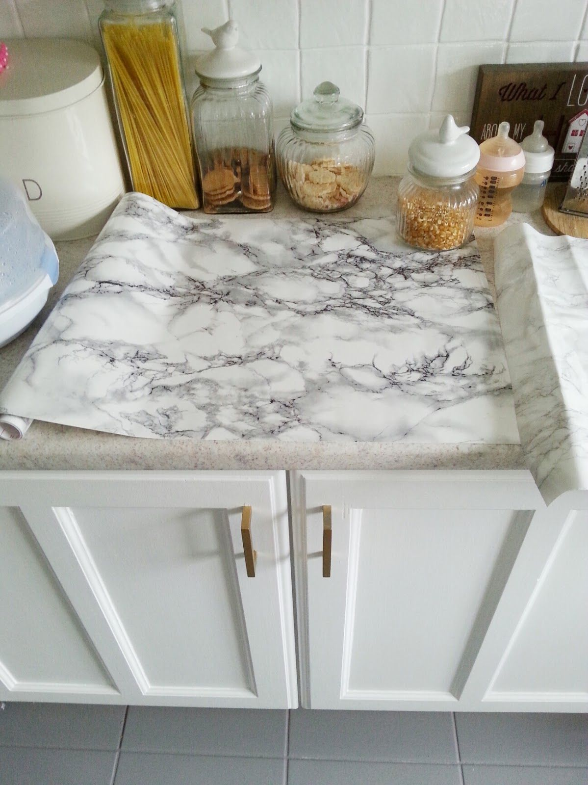 marble kitchen accessories lights over island diy super cheap easy look counters done with