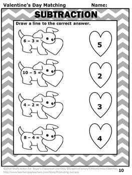 Valentines Day Math Activities, Kindergarten Addition and