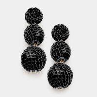 Black Sequin Triple Bon Bon Style Earrings Sequin Ball ...