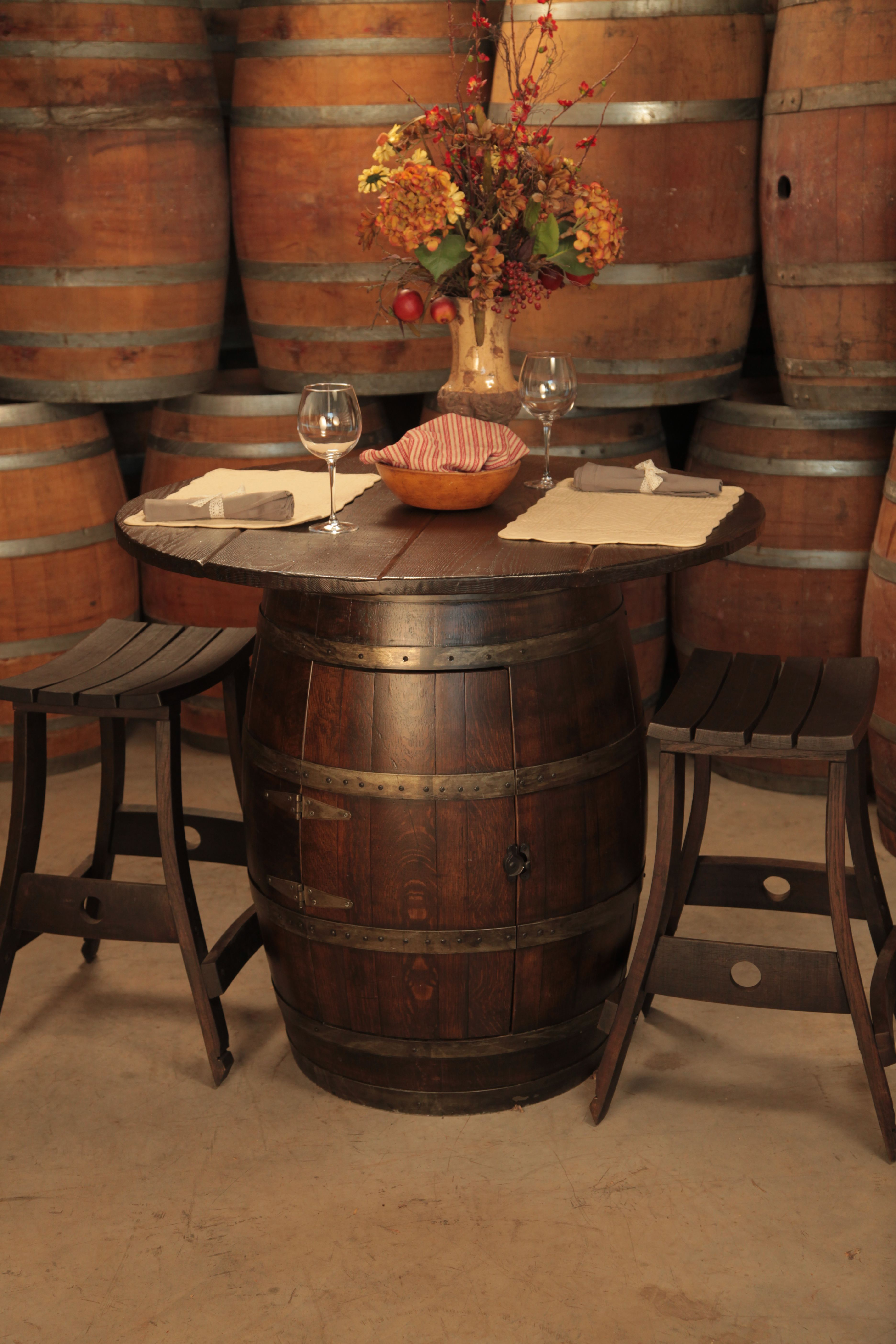 whiskey barrel pub table and chairs elegant chair solutions wine stools perfect for in the