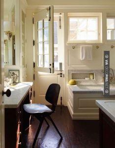 Dutch door in master bath interior design sawyer berson via bungalow blue also cool wainscott bathroom quintessence check rh pinterest