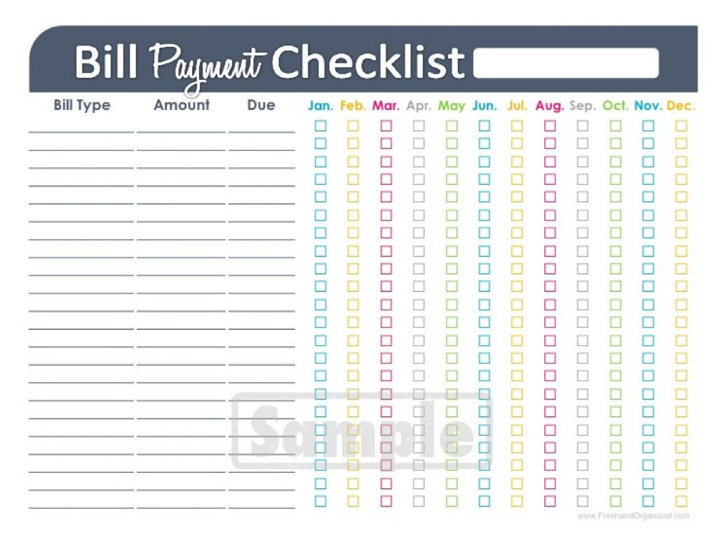 Bill Payment Checklist Printable