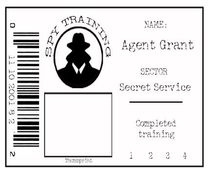Secret Agent Badge. Could be kept in alphabettical order