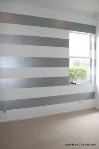 Metallic Striped Accent Wall | Love this for a college ...