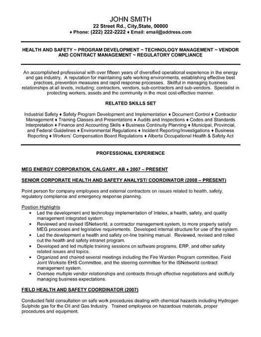 Occupational Health And Safety Resume Examples - Examples of Resumes - health and safety administrator sample resume