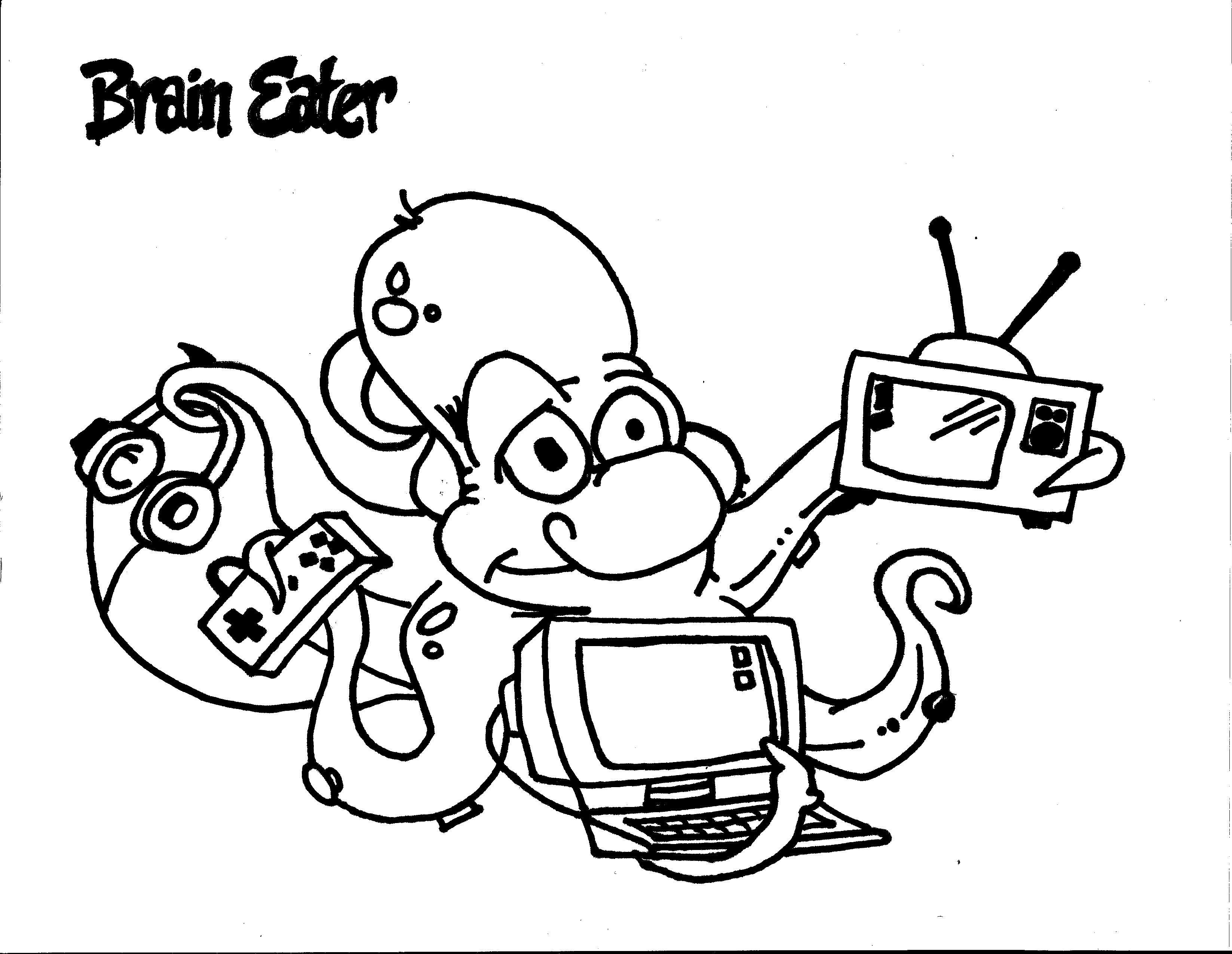 Brain Eater Coloring Page. Team Unthinkables. Superflex
