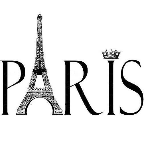 black and white paris clipart