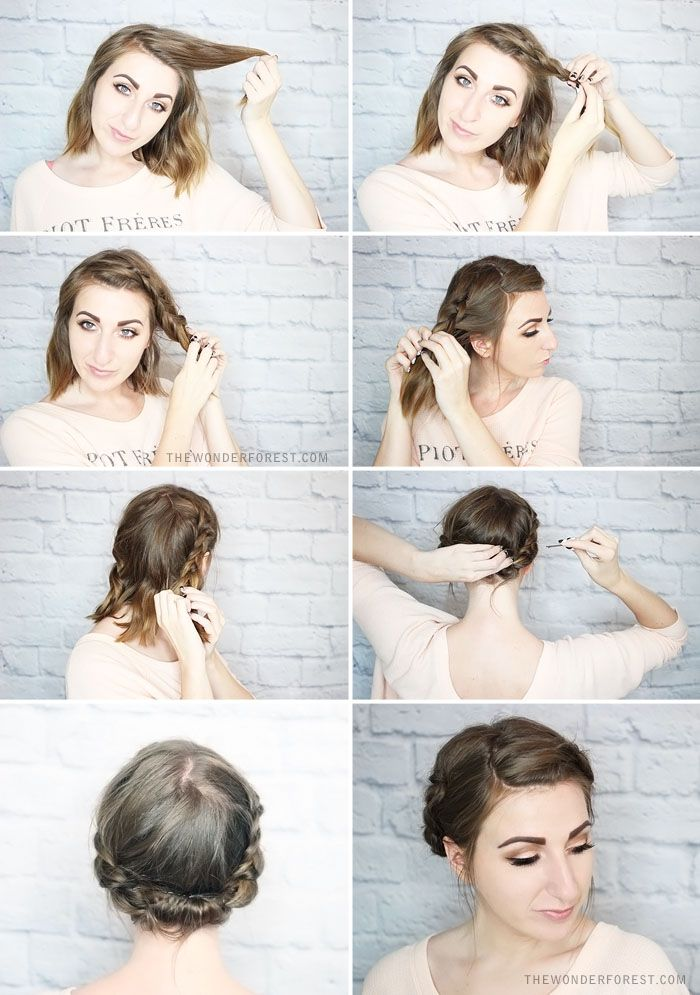Quick Rolled Braid Updo For Shorter Hair Forest Design Updo And