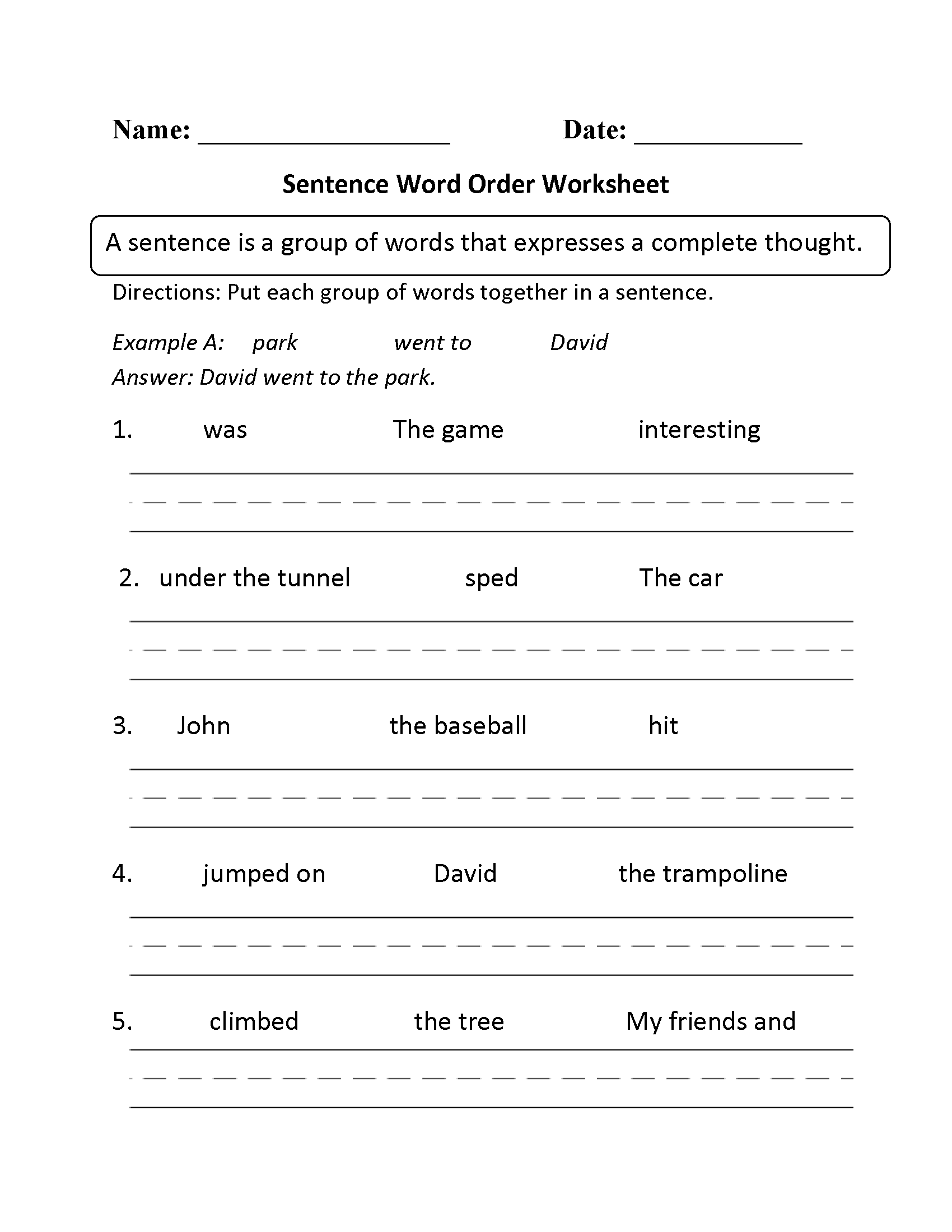 Sentence Word Order Worksheet