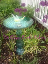 Bird Bath, Glass garden art, yard art, repurposed recycled ...