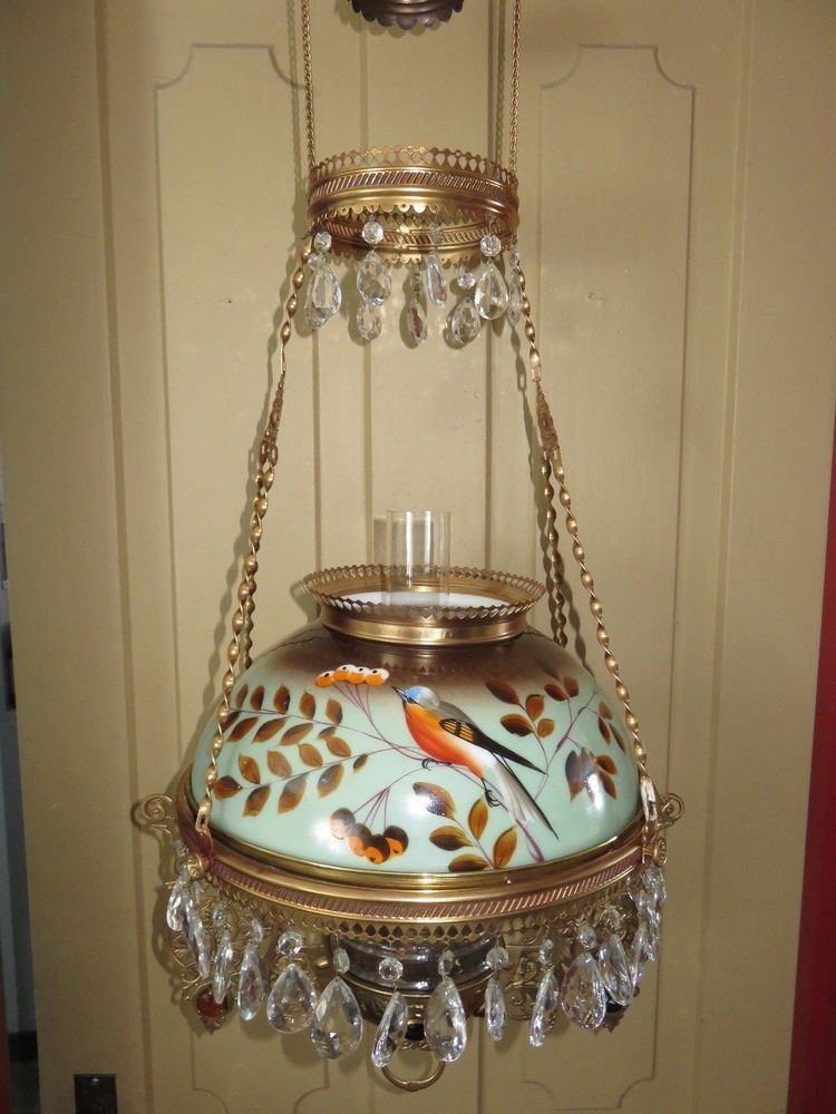 painted round kitchen table island tables 1886 victorian brass parlor hanging oil lamp jewel frame w ...