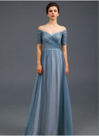 Light Blue Off the shoulder Evening Dress, A Line Formal ...