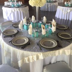 Teal Chair Covers For Wedding Unique Chairs Living Room White Table Cloth Ivory Embroidered Organza Overlay