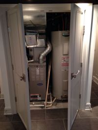 Water heater and furnace closet