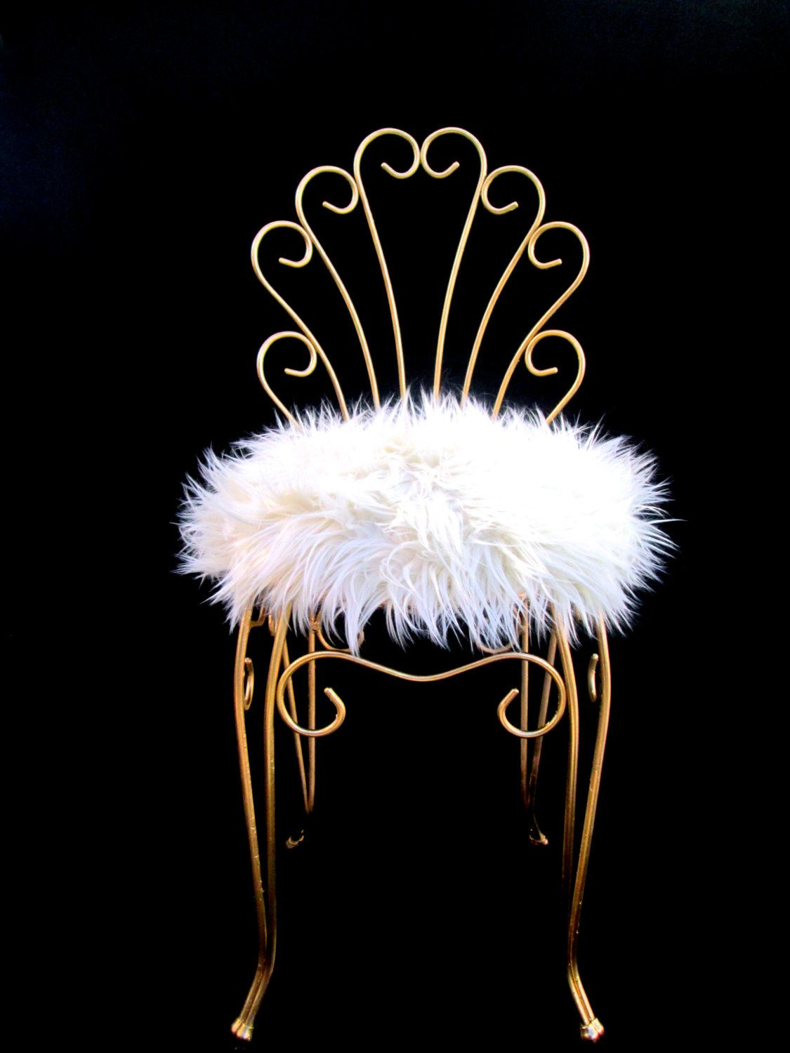fuzzy chair covers broda indications vintage hollywood regency gold metal and faux fur vanity
