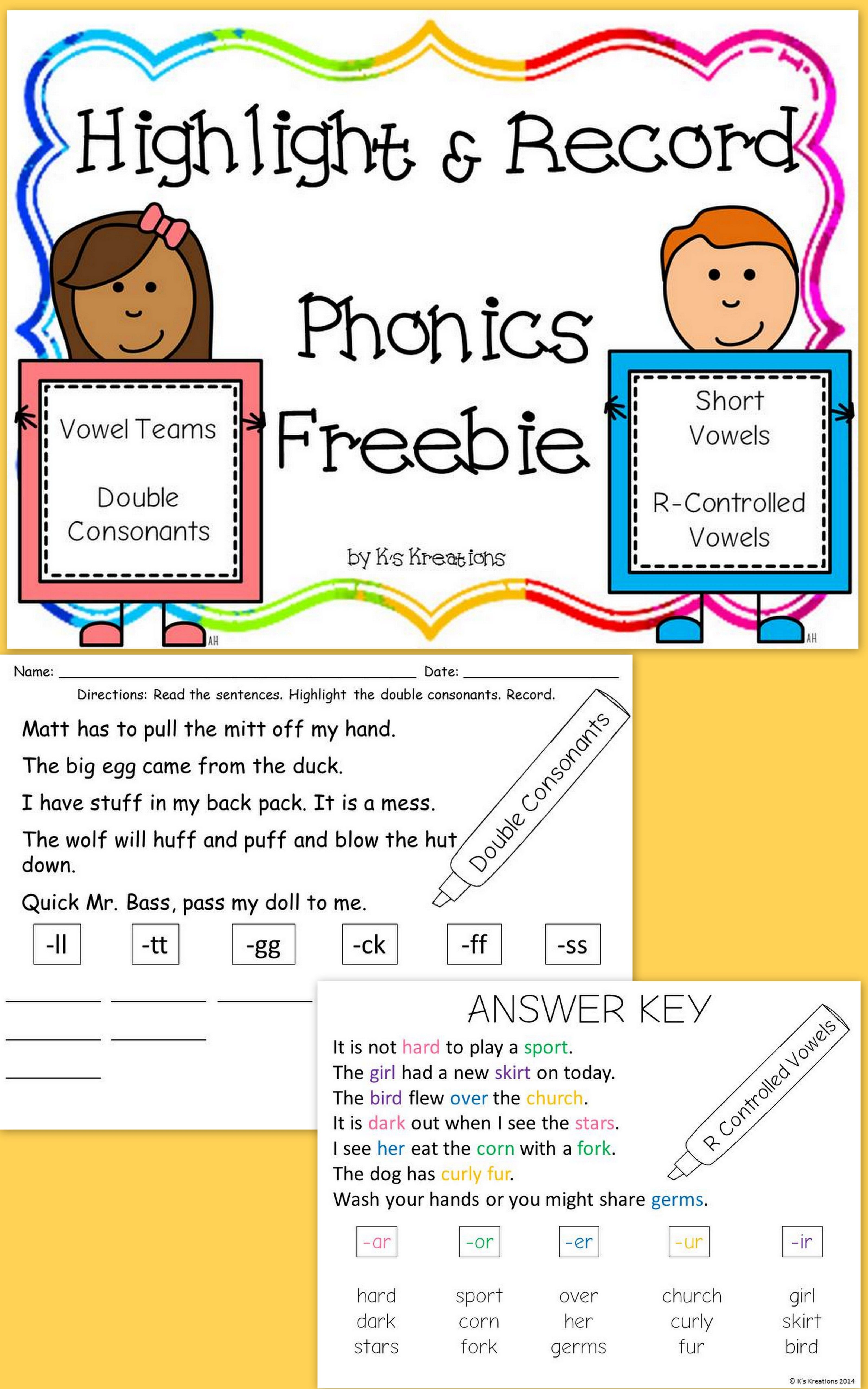 Phonics Freebie Highlight And Sort Words With Short