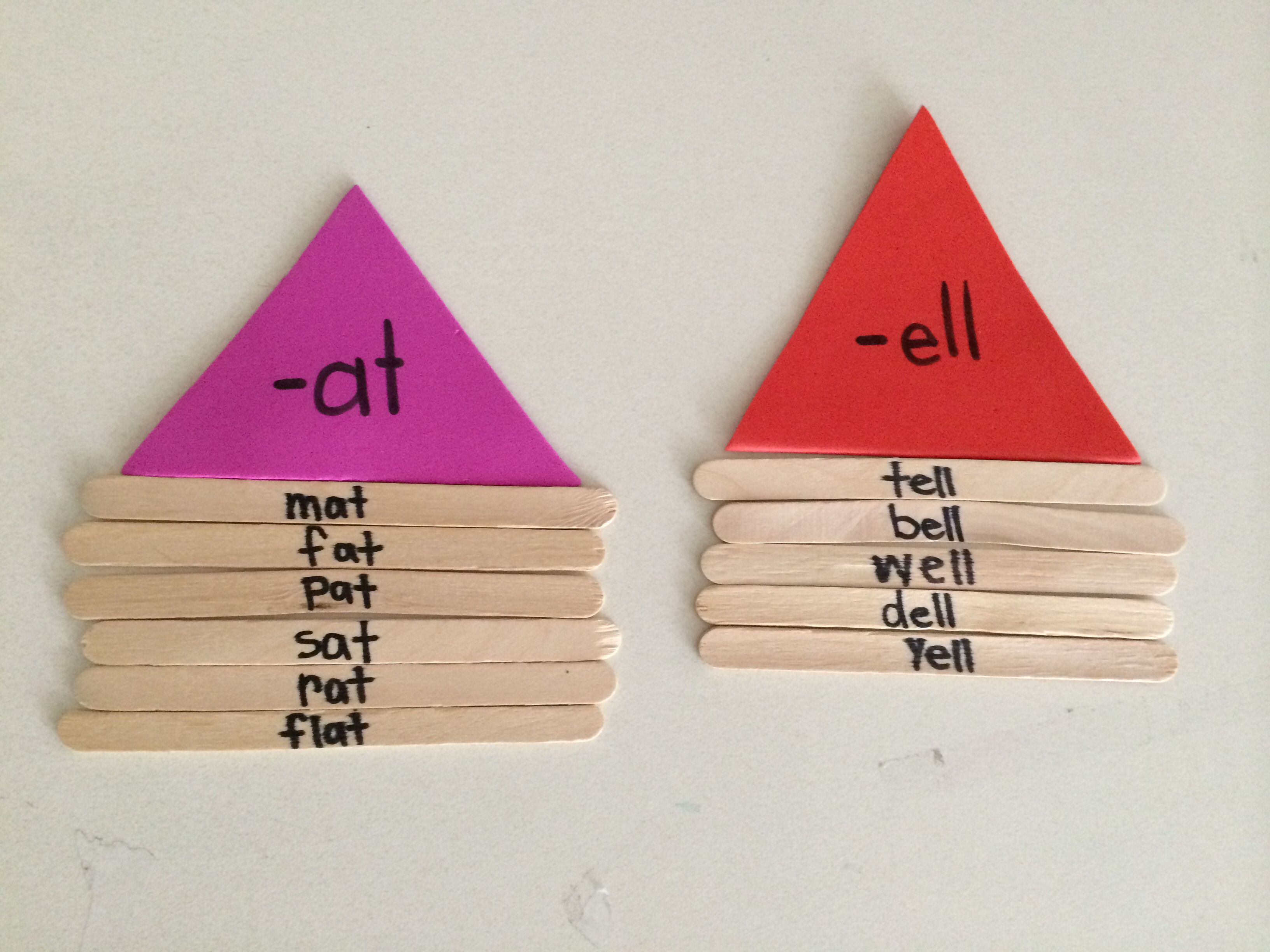 Wordfamily Houses Using Popsicle Sticks With Colored Foam